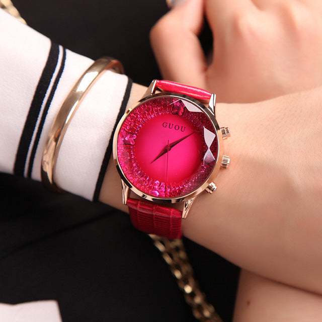 Valentine Rose Luxury Diamond Genuine Leather Ladies Watch | Designer Dresses & Accessories | My Lebaz