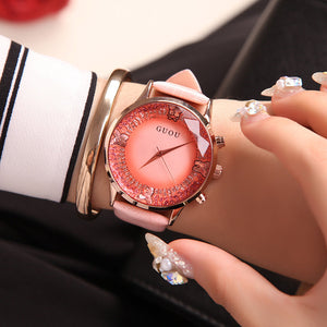 Pink Luxury Diamond Genuine Leather Ladies Watch | Designer Dresses & Accessories | My Lebaz