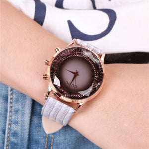 Grey Luxury Diamond Genuine Leather Ladies Watch | Designer Dresses & Accessories | My Lebaz