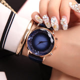 Midnight Blue Luxury Diamond Genuine Leather Ladies Watch | Designer Dresses & Accessories | My Lebaz
