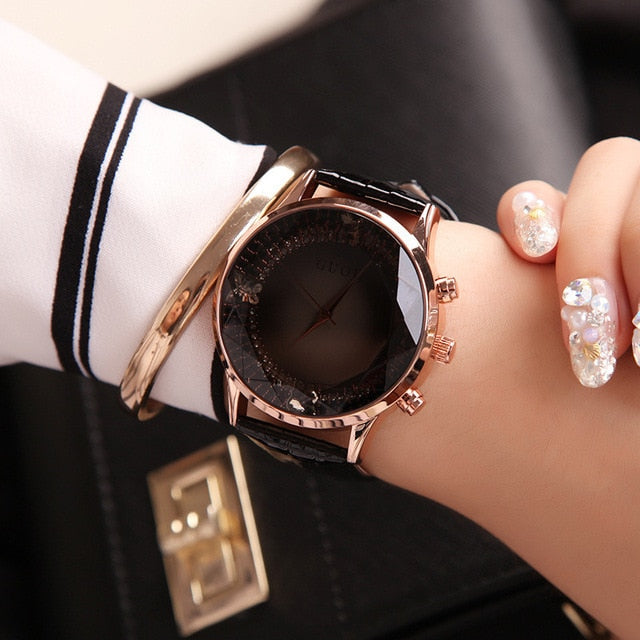Black Luxury Diamond Genuine Leather Ladies Watch | Designer Dresses & Accessories | My Lebaz