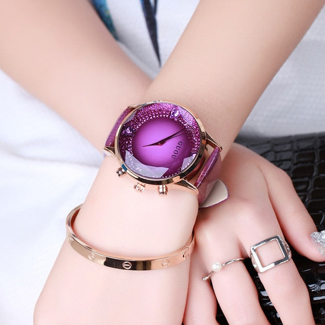 Purple Luxury Diamond Genuine Leather Ladies Watch | Designer Dresses & Accessories | My Lebaz
