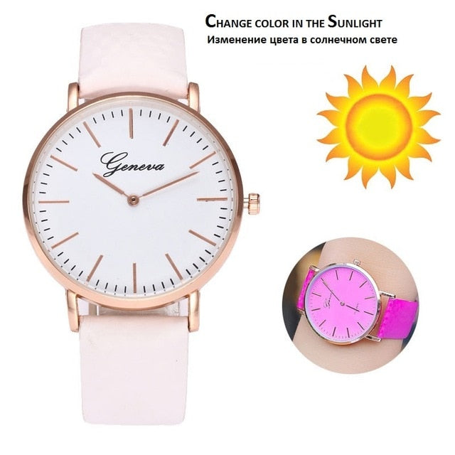 Designer Solar Light Band And Dial Color Change Women Watch | Designer Dresses & Accessories | My Lebaz
