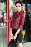 Red Film Jackets Women Black Leather Jacket in Slim Fit | Designer Dresses & Accessories | My Lebaz