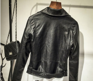 Black Leather Slim Fit Biker Women Jacket | Designer Dresses & Accessories | My Lebaz