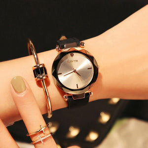 Black-Strap While Dial Frameless Diamond Cutting Wristwatch Genuine Leather Watch | Designer Dresses & Accessories | My Lebaz