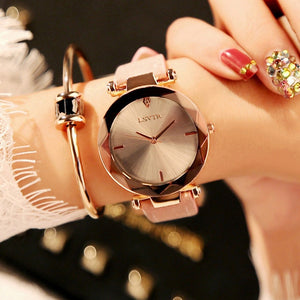 Pink Frameless Diamond Cutting Wristwatch Genuine Leather Watch | Designer Dresses & Accessories | My Lebaz