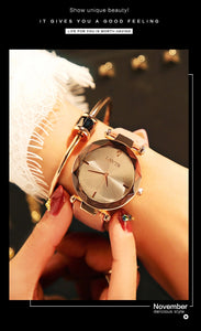 White Frameless Diamond Cutting Wristwatch Genuine Leather Watch | Designer Dresses & Accessories | My Lebaz