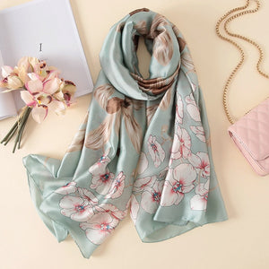Sea Green Floral Pattern Paris Series Premium Quality Luxury Silk Scarf | Designer Dresses & Accessories | My Lebaz