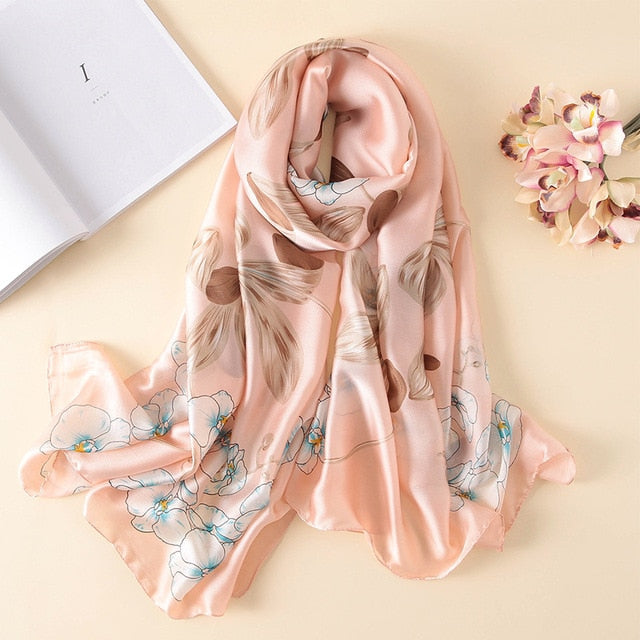 Light Peach Floral Pattern Women Silk Scarf | Designer Dresses & Accessories | My Lebaz