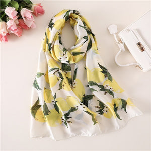 Lemon Yellow Floral Pattern Women Scarf | Designer Dresses & Accessories | My Lebaz