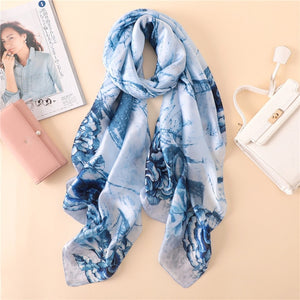 Paris Series Premium Blue-White Pattern Quality Luxury Silk Scarf | Designer Dresses & Accessories | My Lebaz