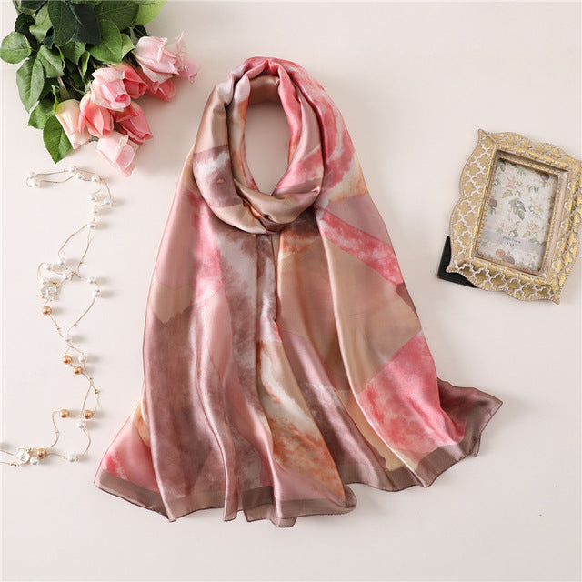 Pink Mozaic Pattern Paris Series Premium Quality Luxury Silk Scarf | Designer Dresses & Accessories | My Lebaz