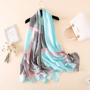 Frost Multi-Color Pattern Women Luxury Silk Scarf | Designer Dresses & Accessories | My Lebaz