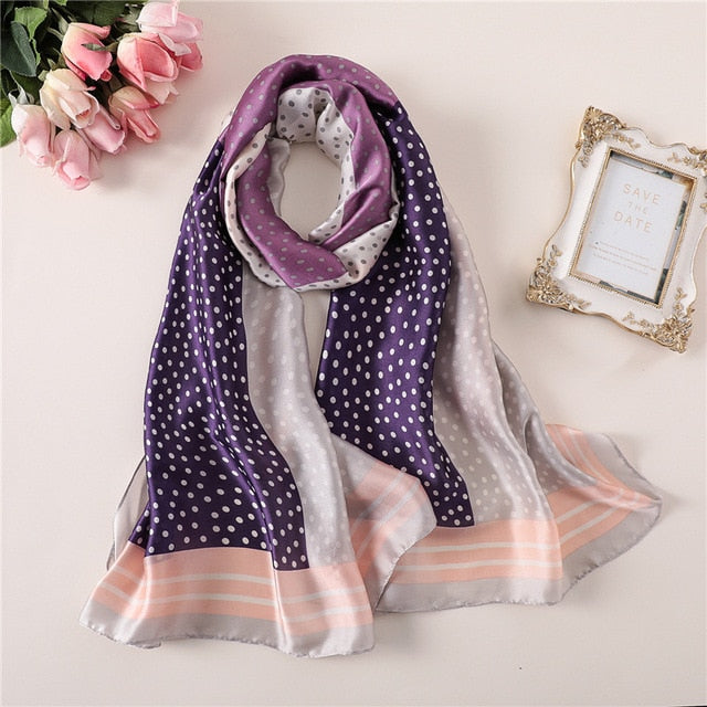 Multi-Color Purple Dotted Paris Series Premium Quality Luxury Silk Scarf | Designer Dresses & Accessories | My Lebaz