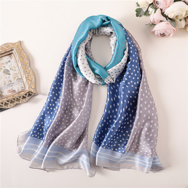 Multi-Color Blue Dotted Paris Series Premium Quality Luxury Silk Scarf | Designer Dresses & Accessories | My Lebaz