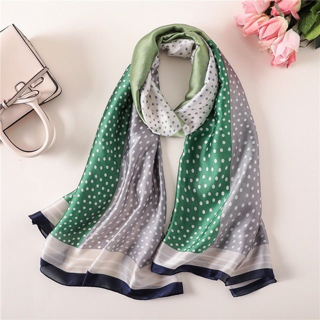 Multi-Colored Green Dotted Paris Series Premium Quality Luxury Silk Scarf | Designer Dresses & Accessories | My Lebaz