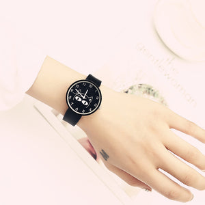 Black Minimalist Cat Lover Delight Designer Women Watch | Designer Dresses & Accessories | My Lebaz