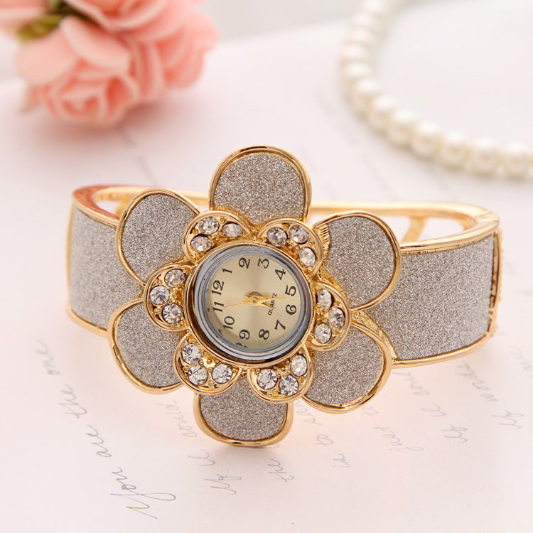 Happy Gold Plated Flower Design Hollow Cuff Bracelet Women Wrist Watch | Designer Dresses & Accessories | My Lebaz