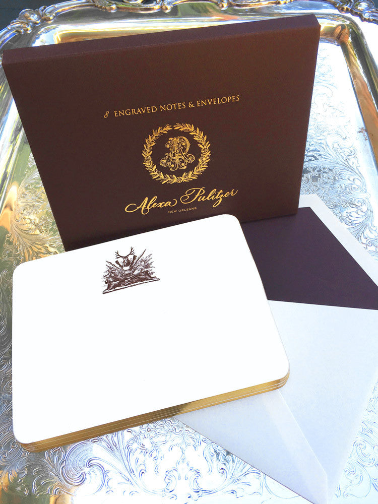 Hunting Crest Engraved Notes
