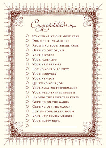 Congratulations Check List Greeting Card