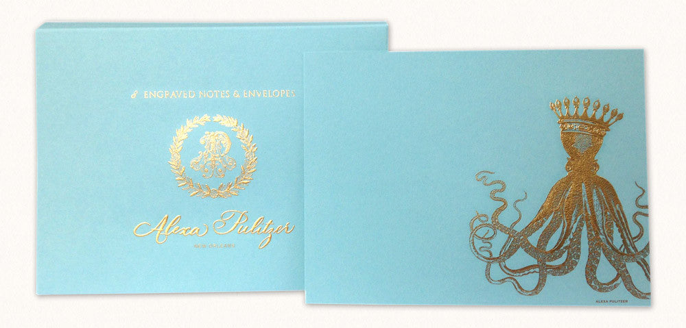 Royal Octopus Engraved Note