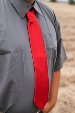 Men's Red Tie & Pocket Tuff