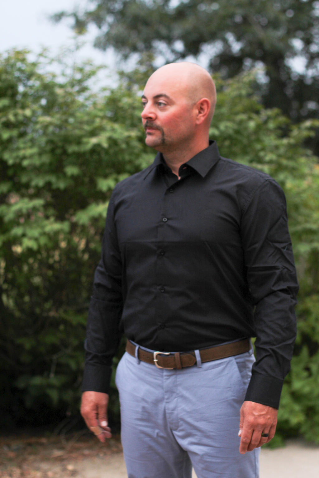 Men's Black Long Sleeve Button Down
