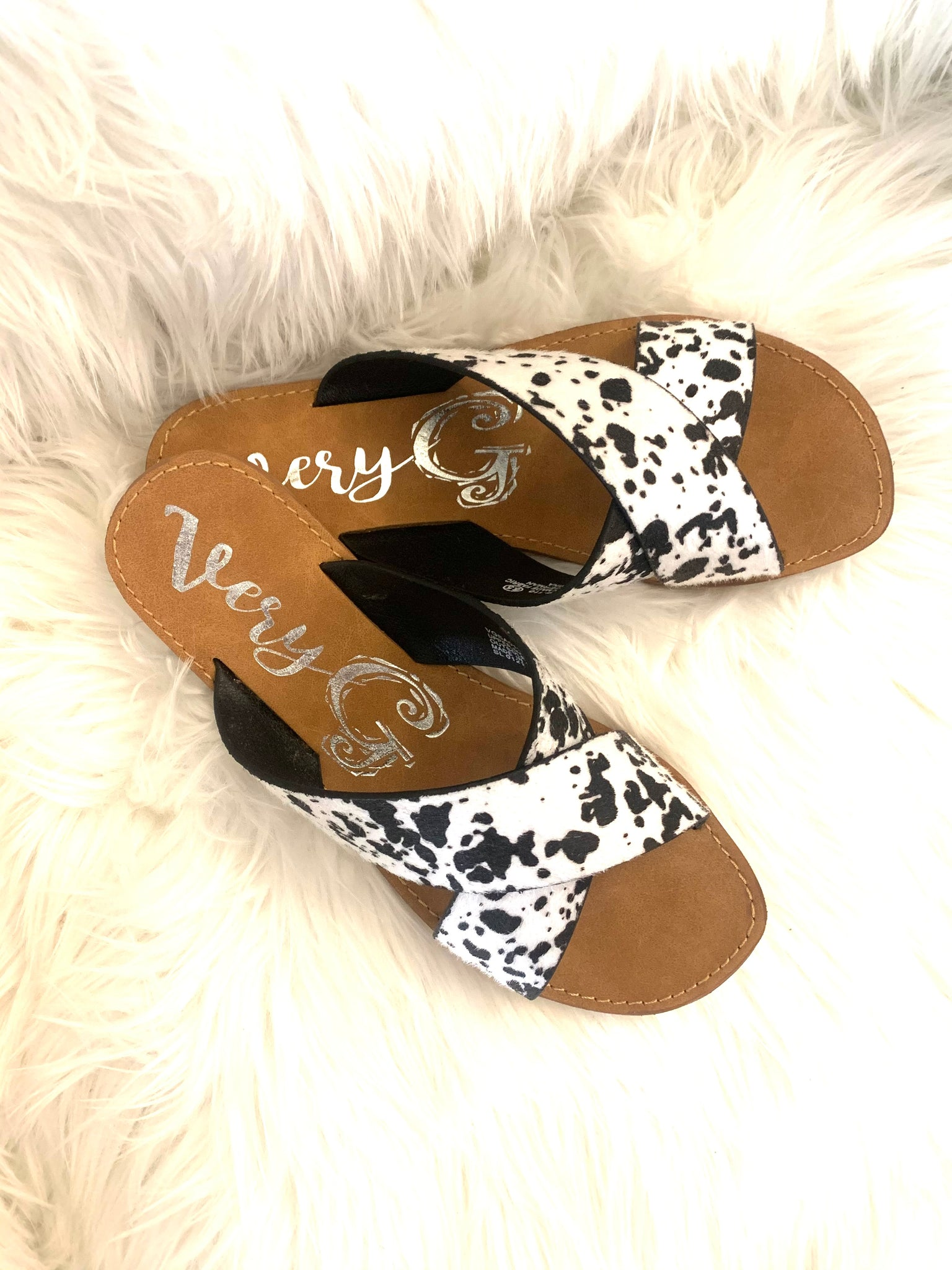 Cow Print Criss Cross Sandals