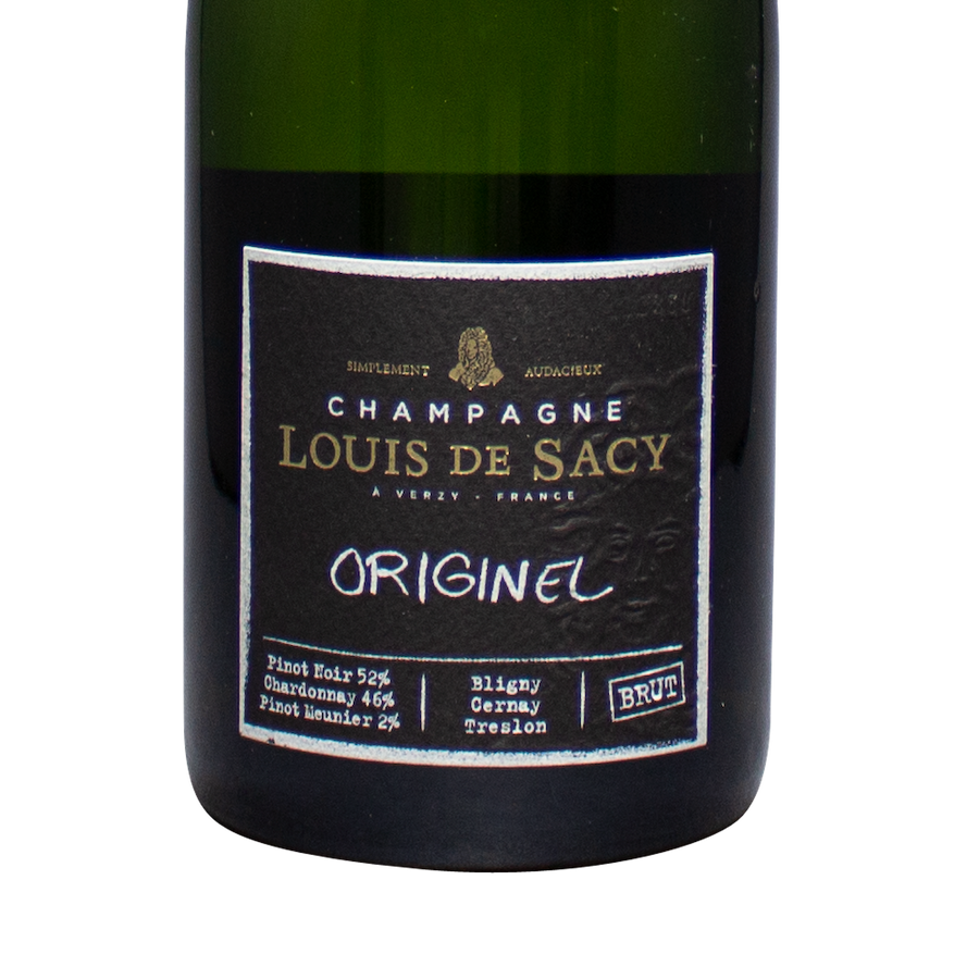 Louis de Sacy, Brut Originel, Champagne France NV  Ships to: DC, VA, CA, ID, NM, NV  Size: 750 ml  Alcohol: 12% ABV  Grapes: 52% Pinot Noir, 46% Chardonnay, 2% Pinot Meunier  Region: Verzy, France - Champagne AOC