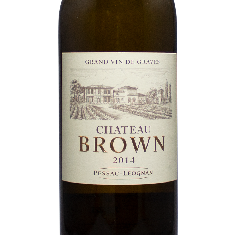 chateau brown, 2014, pessac-leognan, graves, bordeaux france, white wine