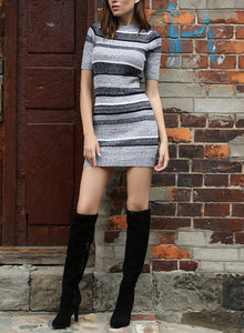 Women Knitted Mini Dress Color Contrast Striped Bodycon Knit Dress Autumn Winter