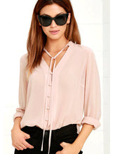 Load image into Gallery viewer, V Neck Long Sleeve Solid Chiffon Blouse