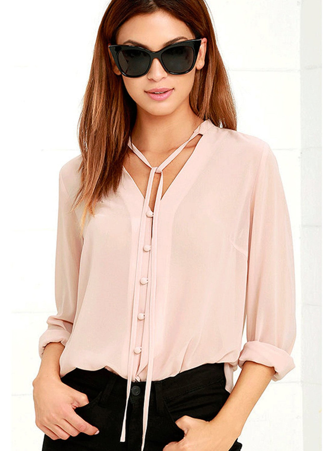 V Neck Long Sleeve Solid Chiffon Blouse