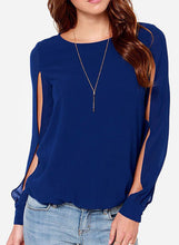 Load image into Gallery viewer, Women's Fashion Solid Slit Long Sleeve Pullover Blouse