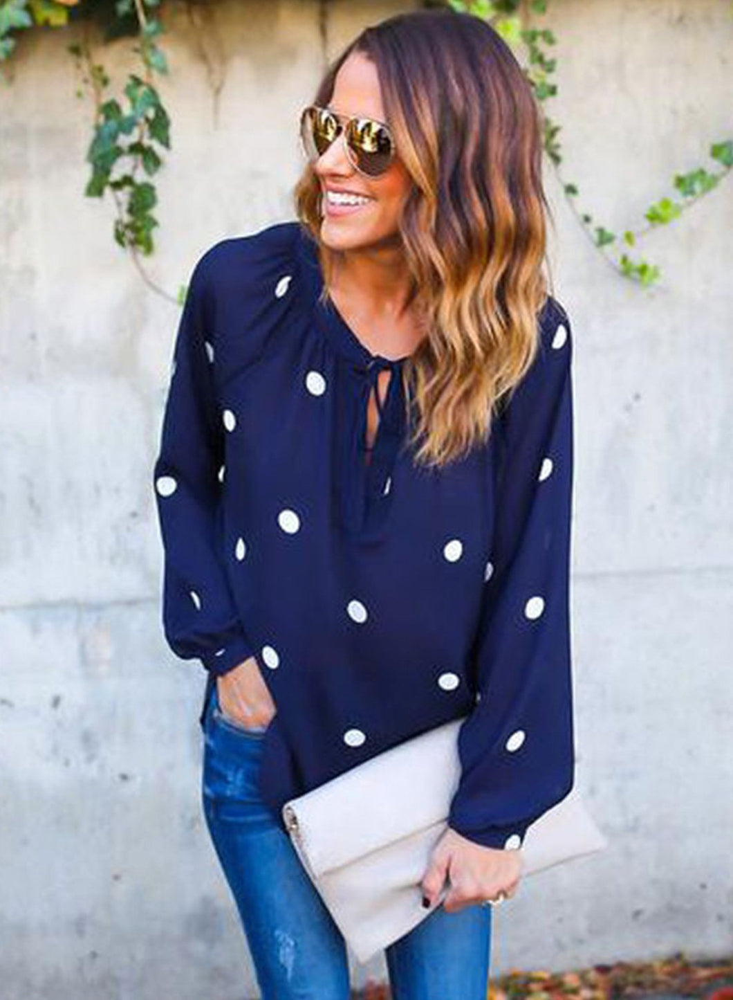 Casual Long Sleeve Polka Dots Loose Fit Blouse