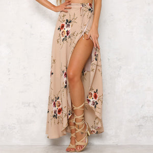 Women's Casual High Slit Floral Printed Irregular Skirt
