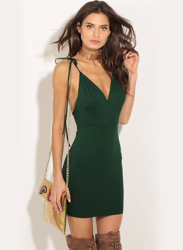 Women's Spaghetti Strap V Neck Backless Solid Bodycon Club Dress