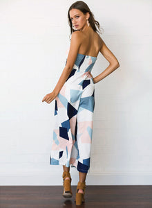 Women's Geometric Print Strapless Sleeveless Jumpsuit