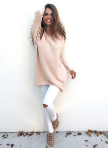 Women's Casual V Neck Long Sleeve Loose Sweater