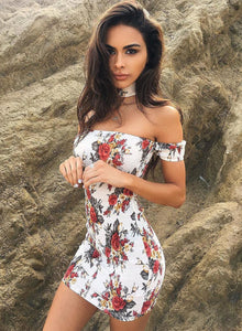 Women's off Shoulder Short Sleeve Floral Bodycon Mini Club Dress