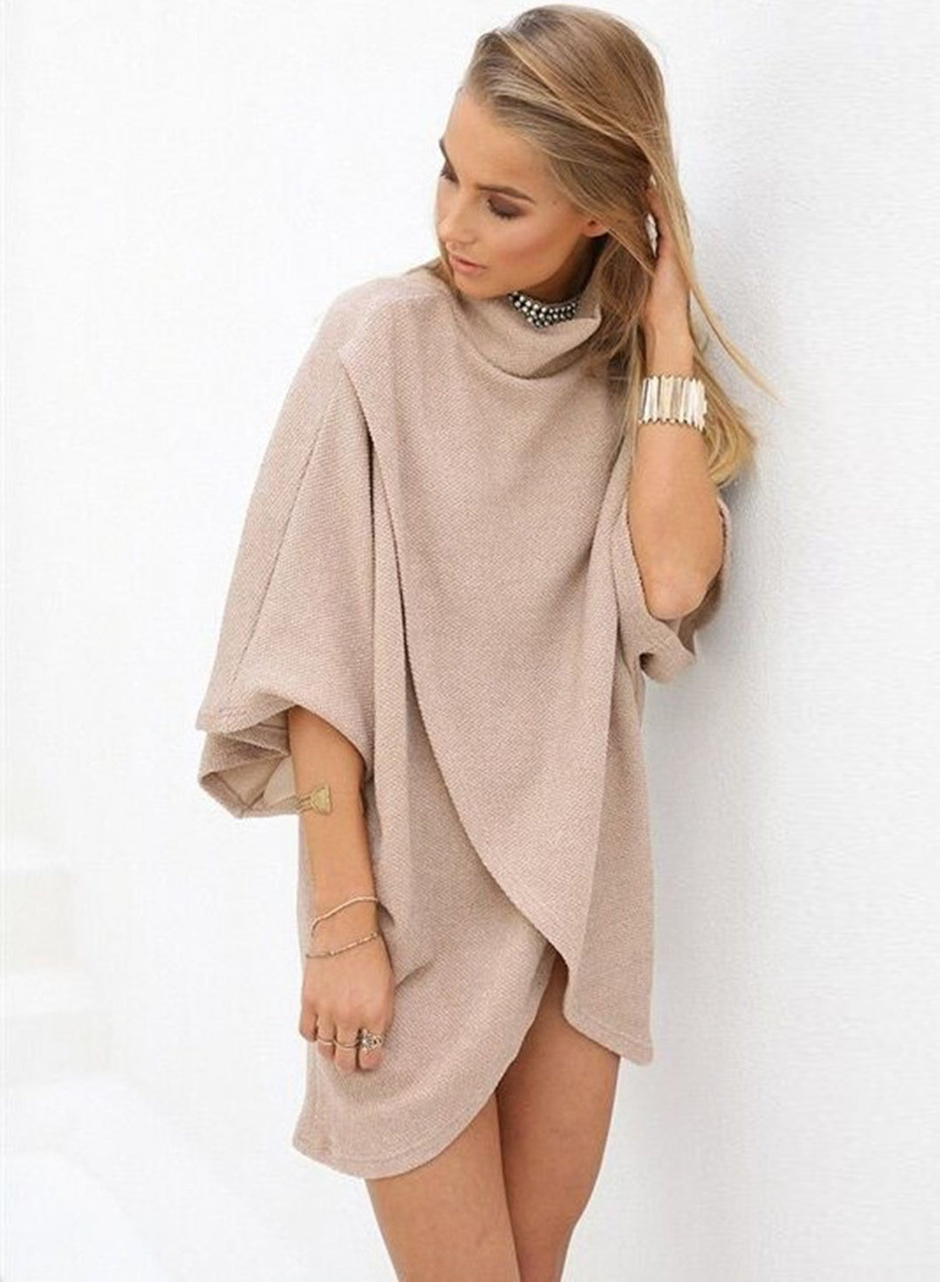 Women's High Neck Asymmetric Solid Pullover
