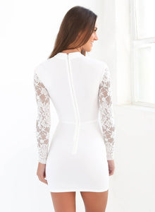 Women's Long Sleeve Lace Cut out Bodycon Dress