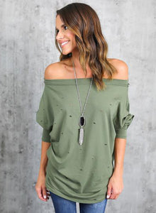 Women's off Shoulder Long Sleeve Ripped Loose Fit Tee