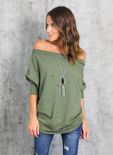 Load image into Gallery viewer, Women's off Shoulder Long Sleeve Ripped Loose Fit Tee