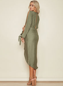 Women's V Neck Long Sleeve Asymmetric Dress