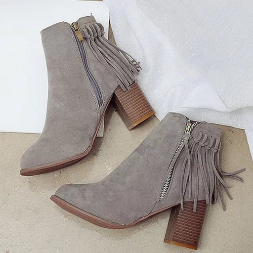 Women's Round Toe Zipper Fringe Ankle Boots