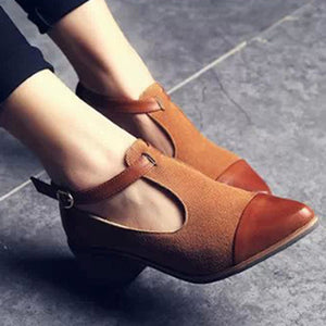 Women's Vintage Pointed Toe Color Block Ankle Strap Shoes