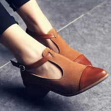 Load image into Gallery viewer, Women's Vintage Pointed Toe Color Block Ankle Strap Shoes