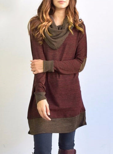 Women's Heaps Collar Patchwork Pullover Tee